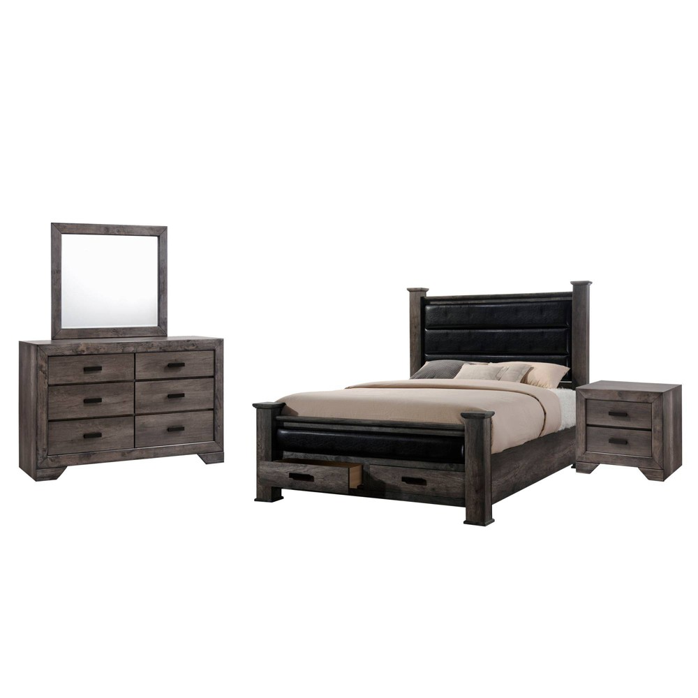 Queen 4pc Grayson Storage Poster Bedroom Set Gray Oak - Picket House Furnishings
