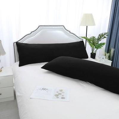 "2 Pcs 20""x48"" 1800 Series Soft Brushed Microfiber Pillow Cover Black - PiccoCasa"