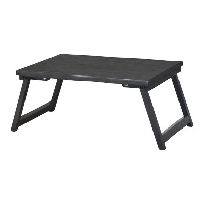 "21"" x 10"" Wood Live Edge Bed Tray Black - Hopper Studio"