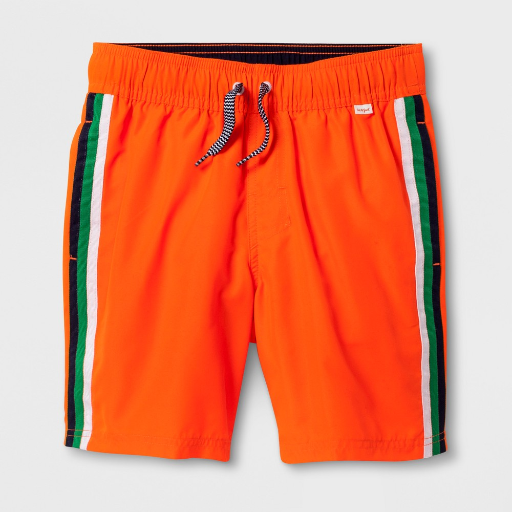 Boys' Stripe Volley Swim Trunks - Cat & Jack Orange XL