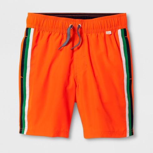 80f639ba465d5 Boys' Stripe Volley Swim Trunks - Cat & Jack™ Orange M Husky : Target