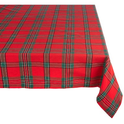 120 x60  Holiday Plaid Tablecloth Red/Green - Design Imports