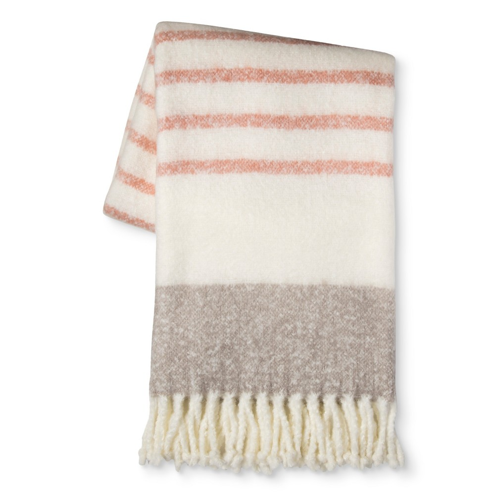 Coral Stripe Faux Mohair Throw Blanket (50