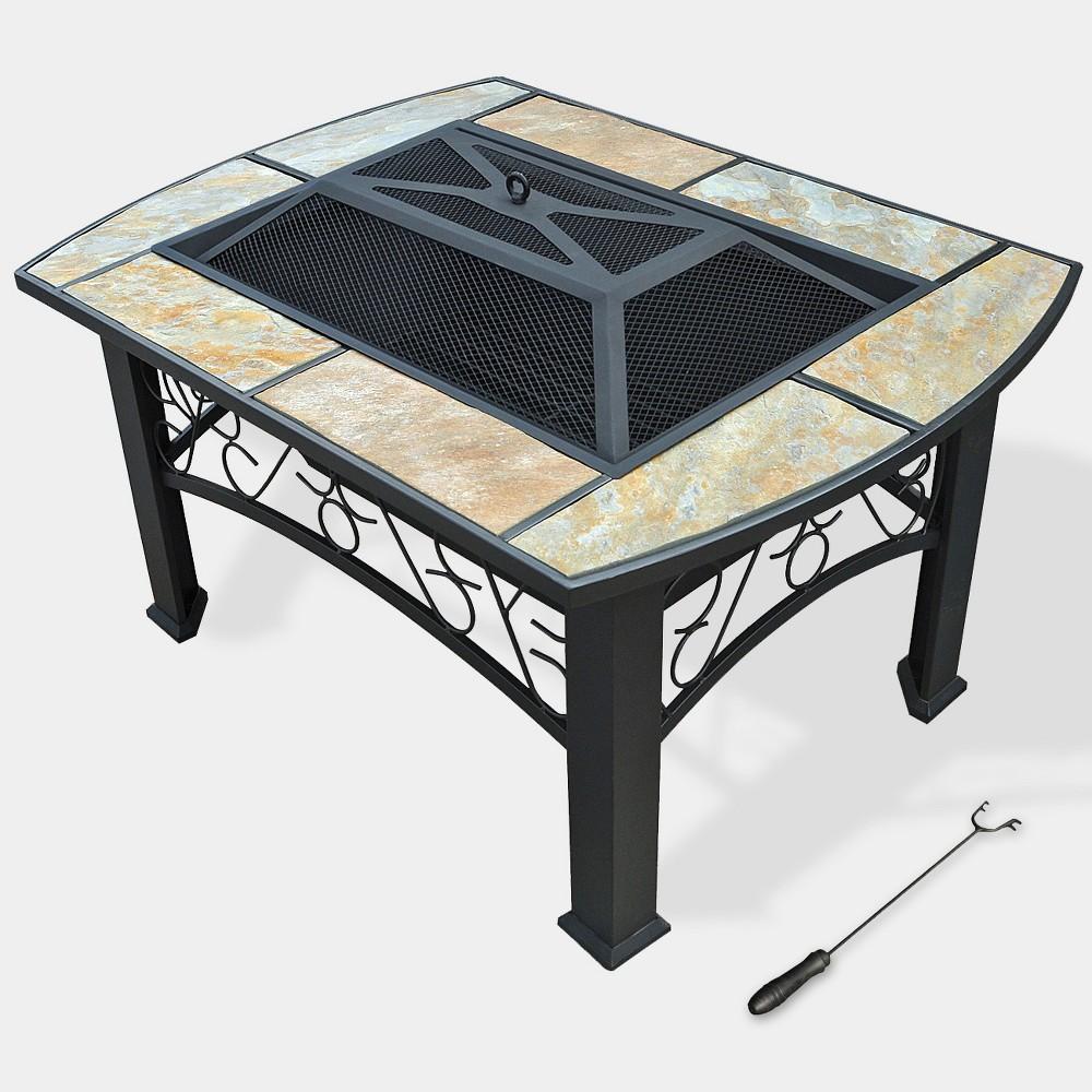 Astoria Rectangle Fire Table - Natural - Leisurelife, Brownish Brown