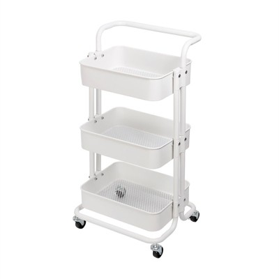 3 Tier Mobile Storage Caddy in Matte White - Pemberly Row