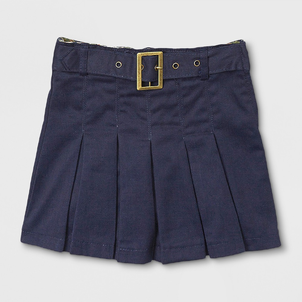 Eddie Bauer Girls' Pleated Scooter with Belt Navy (Blue) 4