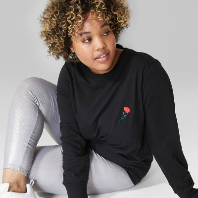 Women's Plus Size Long Sleeve Crew Neck T Shirt   Wild Fable™ Black by Wild Fable