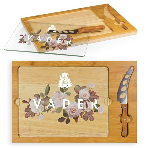 Star Wars Darth Vader Icon Glass Top Wood Serving Tray with Knife Set by Picnic Time - image 1 of 3
