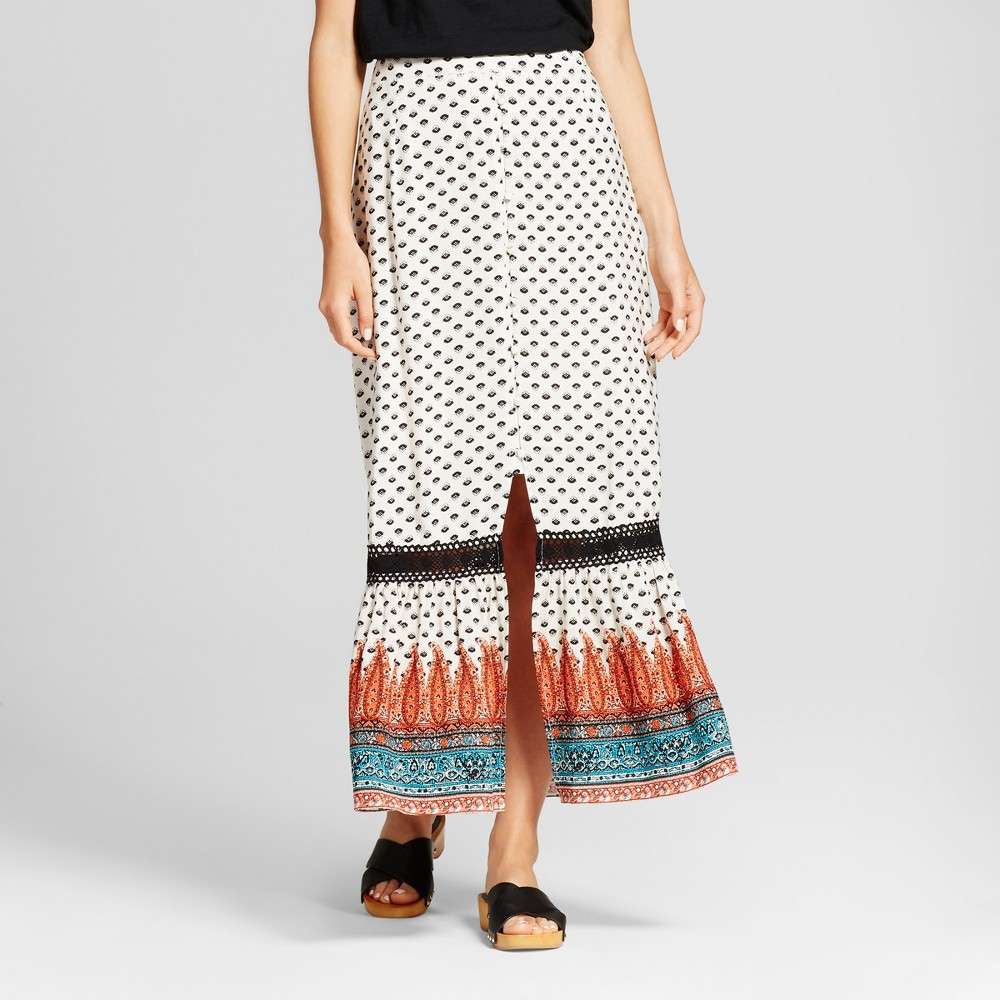 Women's Printed Button Front Maxi Skirt - Knox Rose Ivory M, Multicolored
