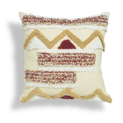 """18""""x18"""" Paros Boucle Embroidered Square Throw Pillow Burgundy/Gold - Sure Fit"""