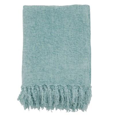 "50""x60"" Chenille Throw Blanket with Fringed Edges Aqua - Saro Lifestyle"