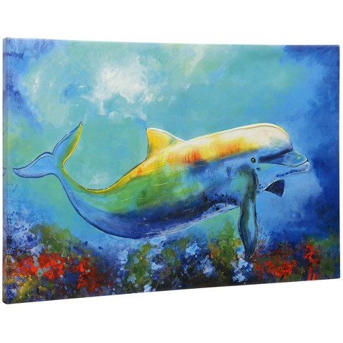 """24"""" Textured Dolphin Hand Embellished Print Stretched Canvas Decorative Wall Art - StyleCraft - image 1 of 1"""