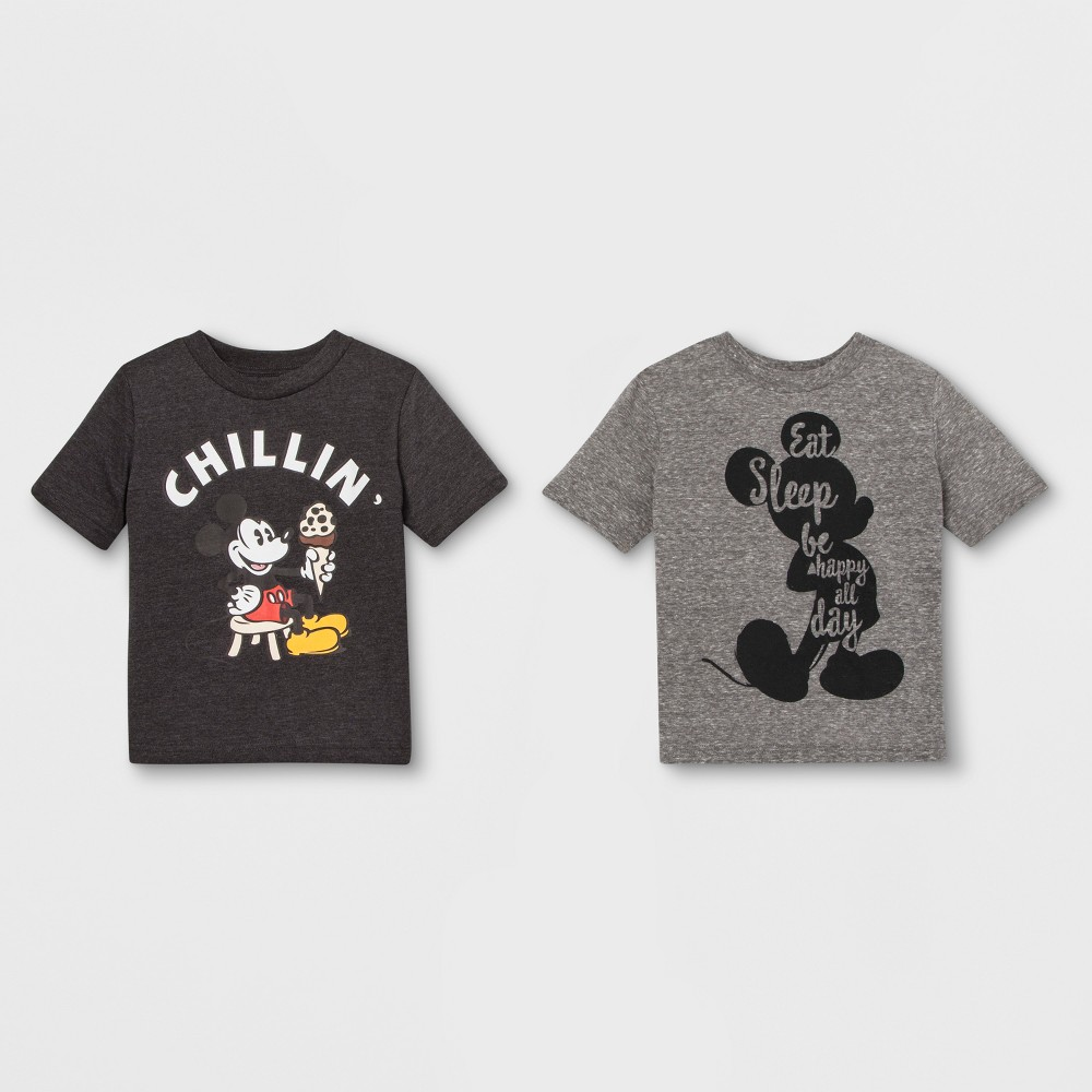 Toddler Boys' 2pk Disney Mickey Mouse & Friends Mickey Mouse Short Sleeve T-Shirts - Gray 4T, Multicolored