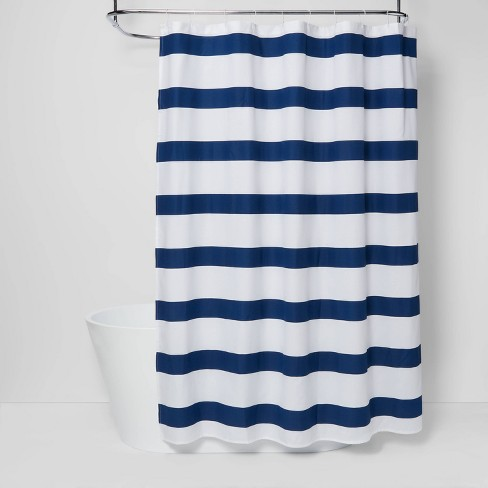 Rugby Stripe Shower Curtain White Blue, Rugby Stripe Curtains