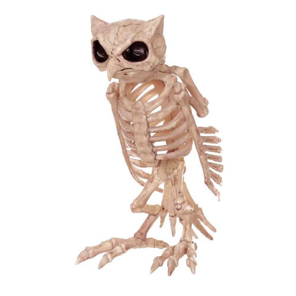 Image of Halloween Skeleton Owl, decorative holiday scene props