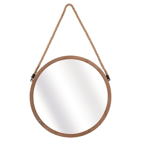 Round Decorative Wall Mirror with Rope Hanger Light Brown - Aurora Lighting - image 1 of 1