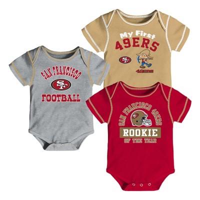 San Francisco 49ers Boys' Newest Fan 3pk Bodysuit Set 3-6 M