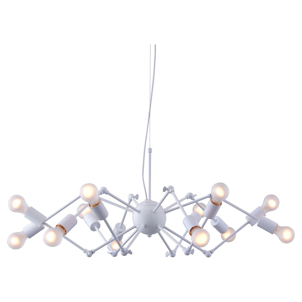 Modern 12-Bulb Painted White Metal Ceiling Lamp - ZM Home