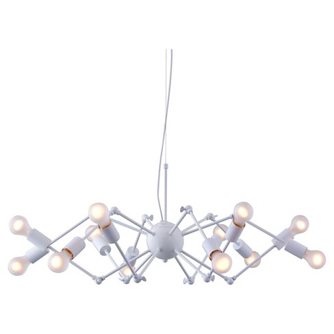 Modern 12-Bulb Painted White Metal Ceiling Lamp - ZM Home - image 1 of 4