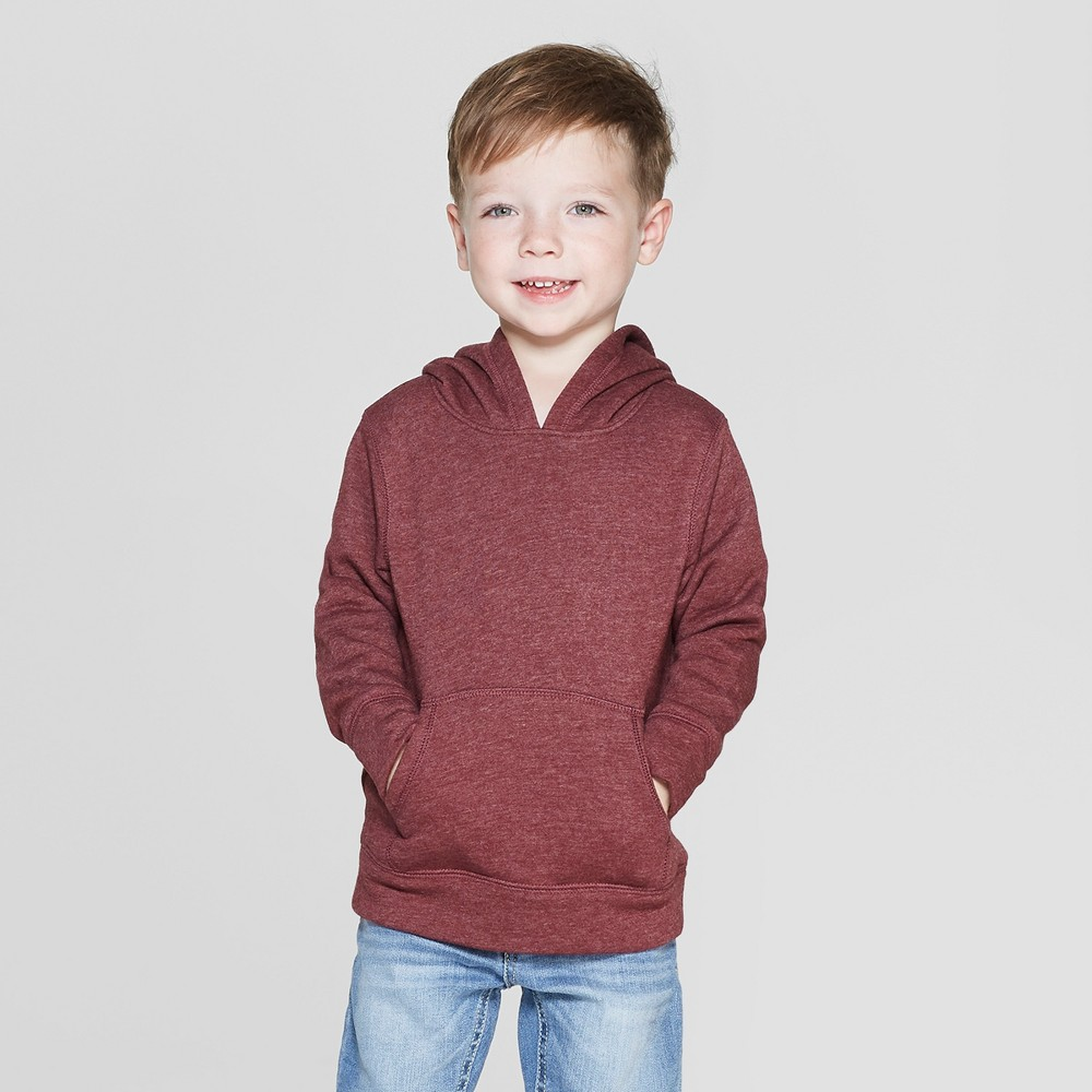Toddler Boys' Fleece Hoodie Sweatshirt - Cat & Jack Crisp Berry 4T, Red