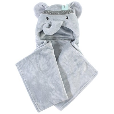 Little Treasure Baby Plush Hooded Blanket, Tribal Elephant, One Size