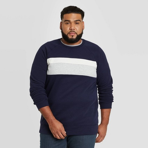 Men's Big & Tall Regular Fit Fleece Crew Sweatshirt - Goodfellow & Co™ Xavier Navy - image 1 of 3