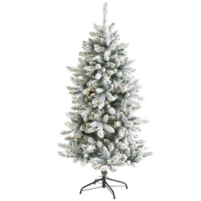 5ft Nearly Natural Pre-Lit LED Flocked Livingston Fir with Pinecones Artificial Christmas Tree Clear Lights