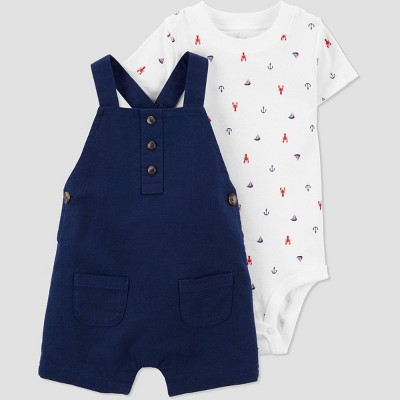 Baby Boys' Romper - Just One You® made by carter's White/Navy 12M