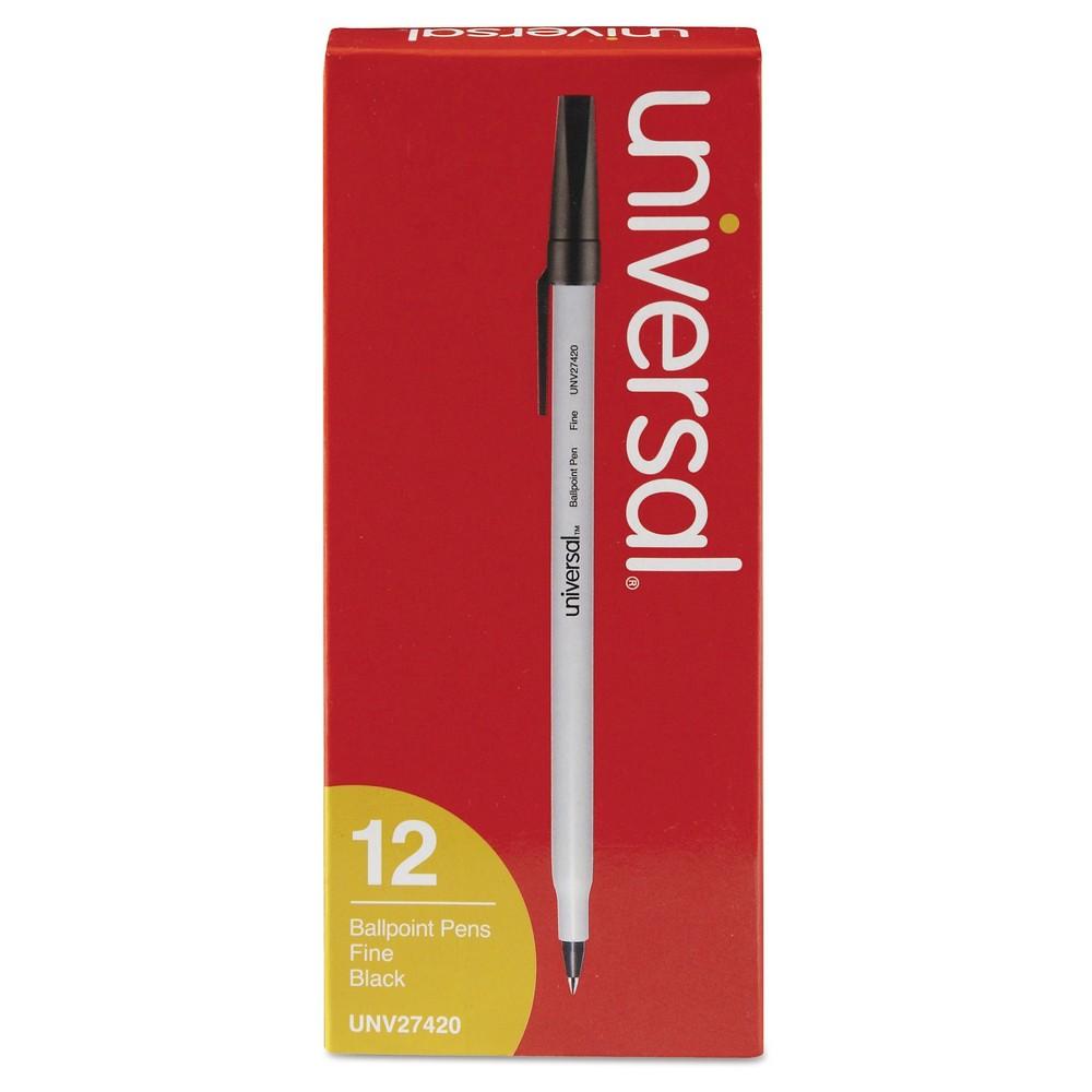 Universal Economy Ballpoint Stick Oil-Based Pen, 12 ct -Black, Black