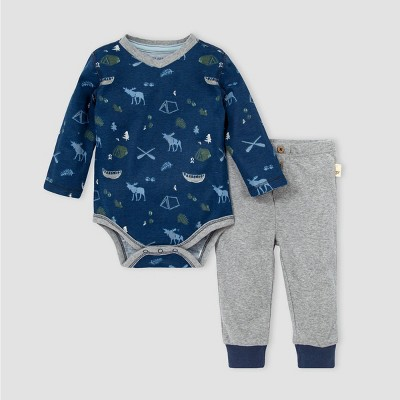Burt's Bees Baby® Baby Boys' Organic Cotton Moose Trails Bodysuit and Pants Set - Navy/Gray 3M