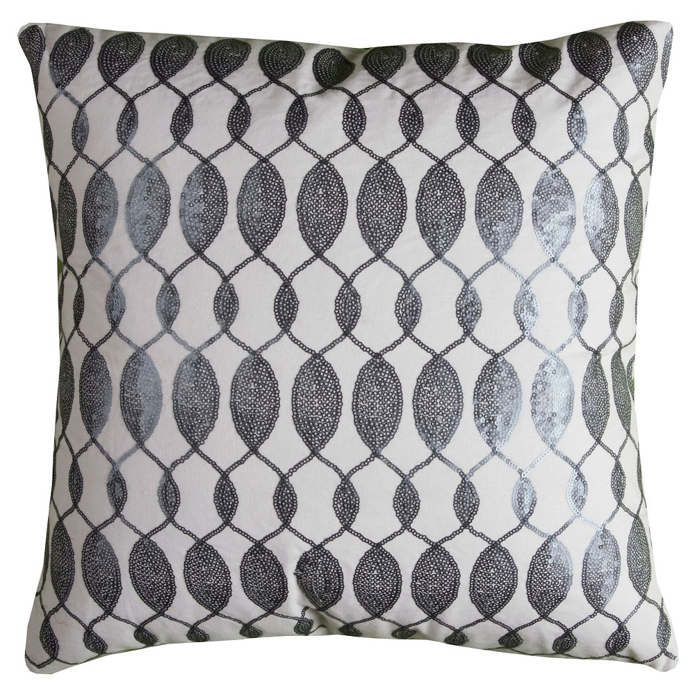 Image of Gray/Ivory Squins Throw Pillow - (18x18) - Rizzy Home