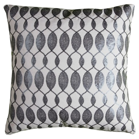 Gray/Ivory Squins Throw Pillow - (18x18) - Rizzy Home - image 1 of 1