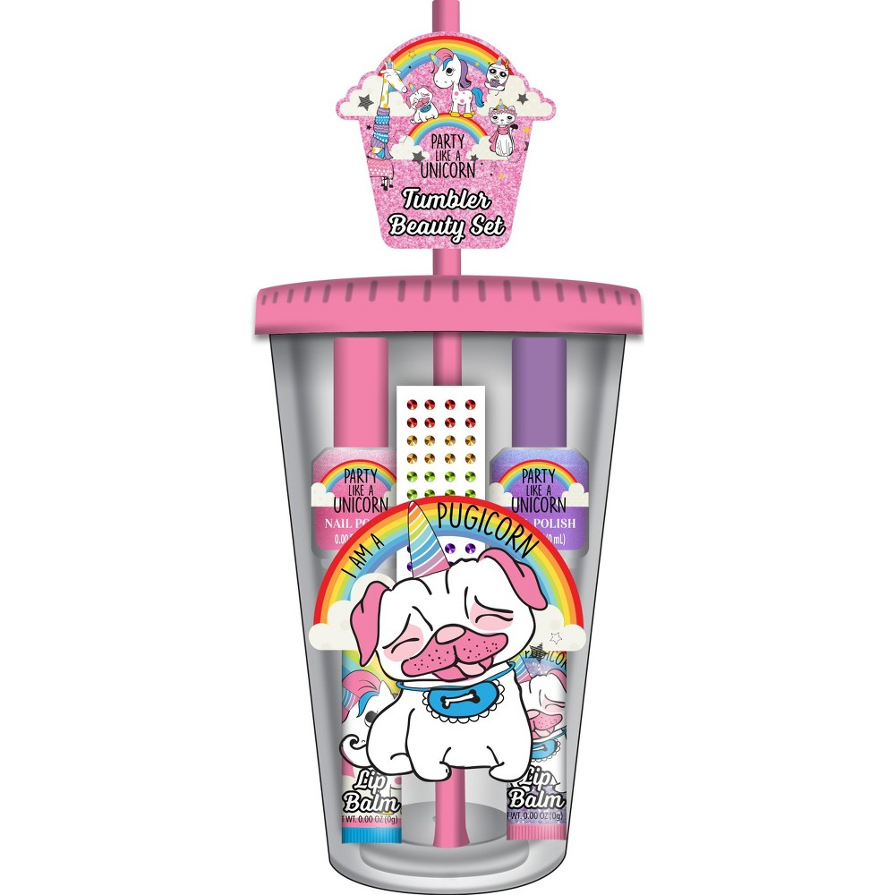 Image of Adore Party Like a Unicorn Cosmetic Water Tumbler Set, Multi-Colored