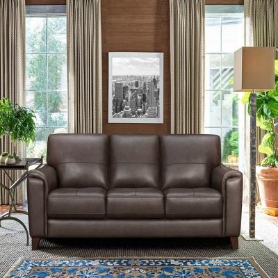 "87"" Bergen Genuine Leather Square Arm Sofa - Armen Living"