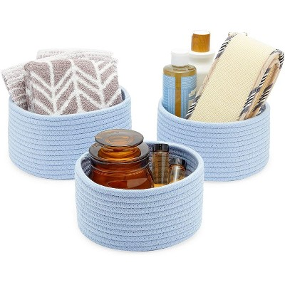 Farmlyn Creek 3-Pack Round Cotton Woven Baskets for Storage, Light Blue Home Organizers (3 Sizes)