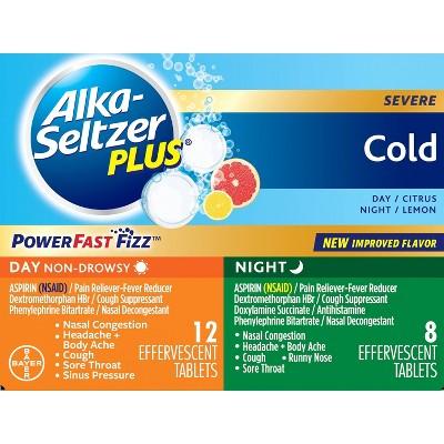 Alka-Seltzer Plus NSAID Cold Day/Night Pack PowerFast Fizz Tablets - Citrus Lemon - 20ct