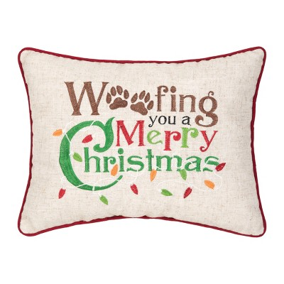 """C&F Home 12"""" x 15"""" Woofing Christmas Embroidered Pillow"""