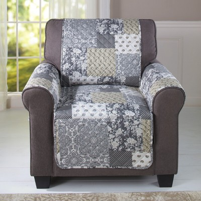 Lakeside Reversible Quilted Chair Cover with Plaid Patchwork Pattern