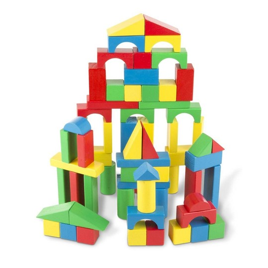 Melissa & Doug Wooden Building Blocks Set - 100 Blocks in 4 Colors and 9 Shapes image number null