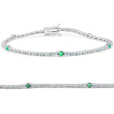 "Pompeii3 1 1/10 Ct Diamond & Genuine Green Emerald Tennis Bracelet 14k White Gold 7"""