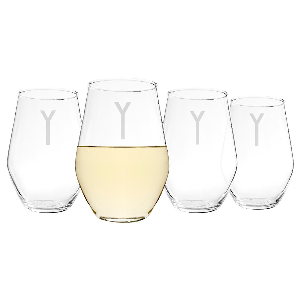 Cathy's Concepts 19 oz. Personalized Contemporary Stemless Wine Glasses (Set of 4)-Y, Clear