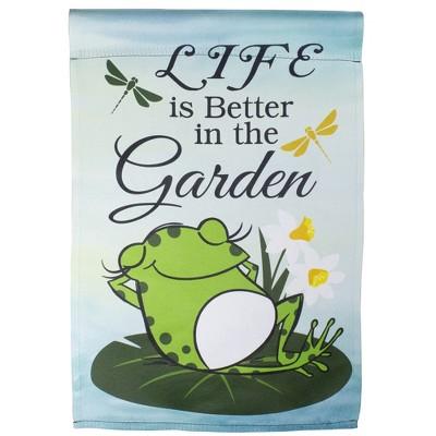 """Northlight Life is Better in the Garden Green Frog Outdoor Garden Flag 12.5"""" x 18"""""""