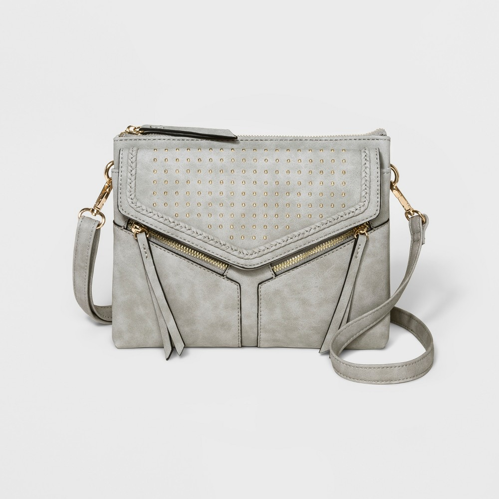 VR Nyc Braided/Studded Leanna Triple Crossbody Bag - Gray, Girl's