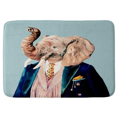"""Animal Crew Mr. Elephant Cushion Bath Mat (36""""x24"""") Blue - Deny Designs"""