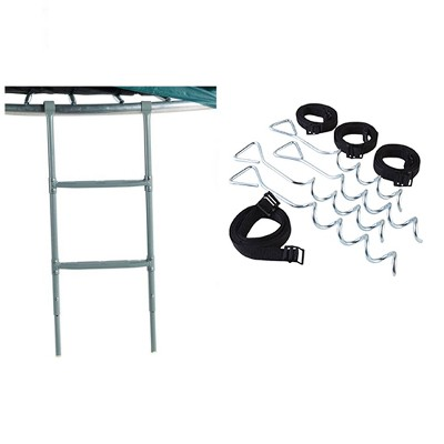 JumpKing Two Step Trampoline 38 inch to 45 inch Ladder and Anchor Tie Down Kit
