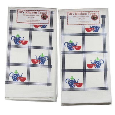 """Tabletop 24.0"""" Country Coffee Towel Cotton Kitchen St/2 Red And White Kitchen Company  -  Kitchen Towel"""