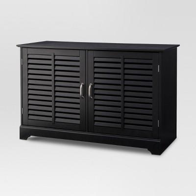 Shuttered Door TV Stand Black Finish - Threshold™