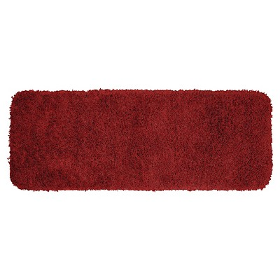 "22""x60"" Jazz Shaggy Solid Washable Nylon Bath Runner Chili Pepper Red - Garland"