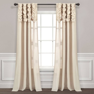"""84""""x52"""" Ruched Waterfall Linen Window Curtain Panel - Lush Décor"""