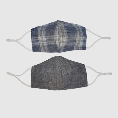 2pk Men's Plaid Fabric Face Masks - Goodfellow & Co™ Blue